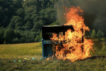 destruction, rock concert, jazz, fireplace. Stock Photo
