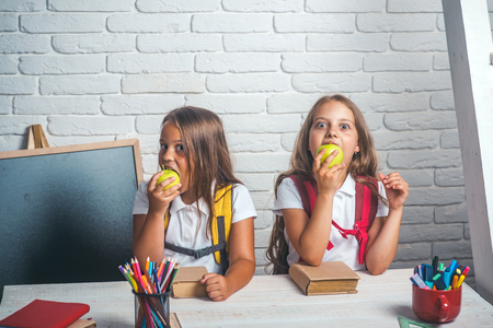 School time of girls. Friendship of small sisters in classroom at knowledge day. Happy school kids at lesson in september 1. Back to school and home schooling. Little girls eat apple at lunch break. 스톡 콘텐츠