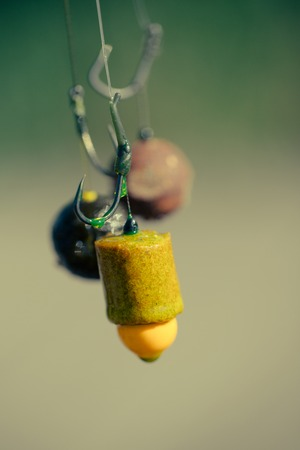 Fishhooks on line on blurred background. Fishhooks with fishing bait, chumming. Reklamní fotografie