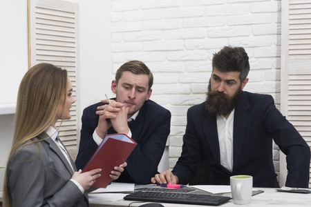 Business partners, businessmen at meeting, office background. Business investment concept. Businesswoman ask for investment. Business negotiations, bosses listening with interest business offer. Banque d'images - 101172157