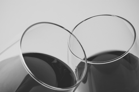 Two goblets with red wine Stock Photo