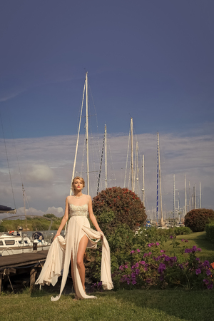 Beautiful bride in yacht club Stock Photo
