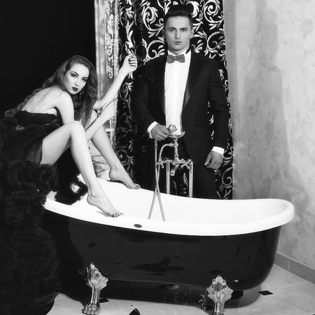 elegant couple in bath Stock fotó