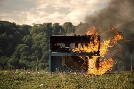 Fire, art, Halloween, trash, bonfire Stock Photo