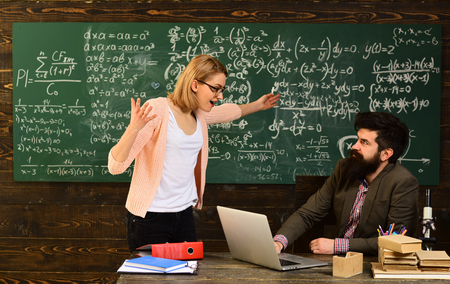 Good tutors are often communication masters, Education graduation and people concept - successful tutor in mortar boards, University seminar conference team collaboration concept,