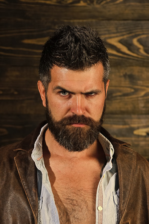 Serious hipster in barbershop, look. Hipster with beard serious face on wooden background. Banco de Imagens