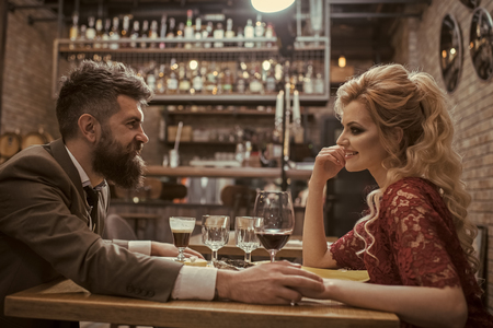 restaurant date of young couple. sexy couple in restaurant