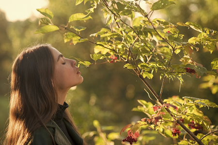 spring time young girl at viburnum or rowan tree sunny outdoor. woman stand near tree in spring. spa therapy and treatment, nature. beauty and youth fashion Stock Photo