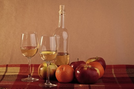Bottle of wine two glasses and fruits Stock Photo