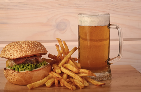 Beer burger and chips Stock Photo