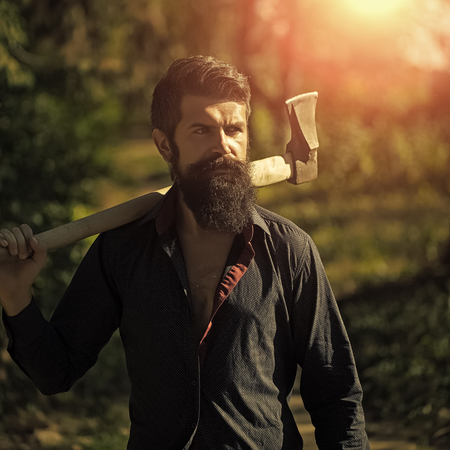 Man with axe outdoor
