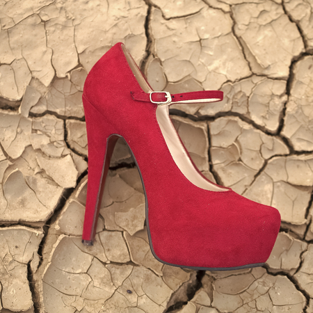 Red shoe on ground