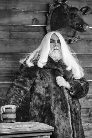 Druid and stuffed boar head 写真素材 - 101156131