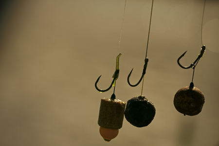 Baits, hooks, sinkers for carp fishing. Stock Photo