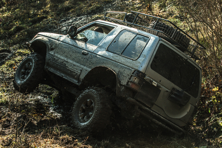 Offroad car stuck in dirt on sunny autumn day. Dirty suv with fall forest on background. Wheels covered with mud slipping in the air. Extreme entertainment concept. Imagens