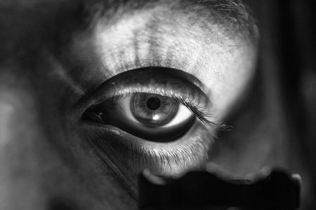 male eye with flashlight Banco de Imagens