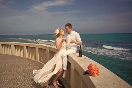 Wedding couple on terrace