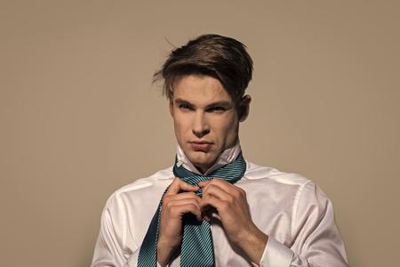Man tie necktie on grey background Stock Photo