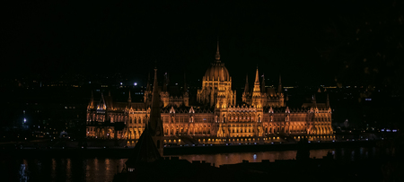 Hungarian parliament building at night in Budapest, Hungary Editöryel