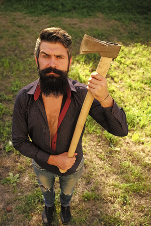 Top view of man with axe Stock Photo