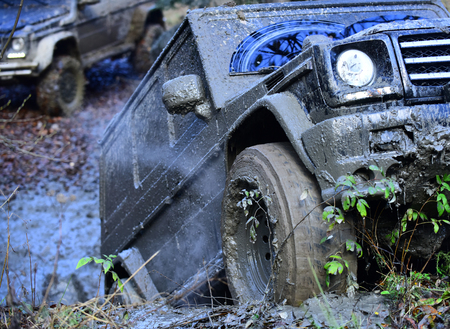 Dirty wheels of car spinning in mud. SUV in autumn forest, defocused. Offroad race on fall day. Extreme entertainment concept. Dirty offroad SUV overcomes obstacles in forest area