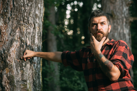 Thoughtful handsome man in red shirt touching his beard. Young hiker with tattoo on his arm relaxing in woods, mindfulness and tranquility concept.