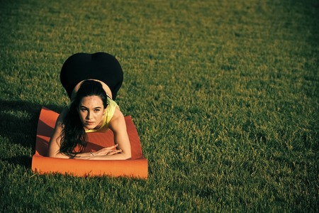 Woman doing plank exercise outdoor on green grass Banco de Imagens