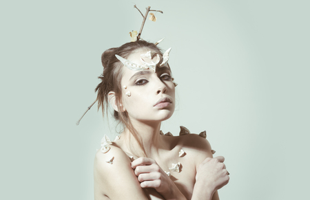 Spirit of nature or forest nymph, fantasy concept. Stock Photo