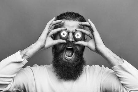 Man face handsome. emotional bearded man with egg eyes Stok Fotoğraf