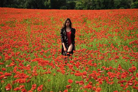 Sensual woman. Poppy, Remembrance day, Anzac Day.
