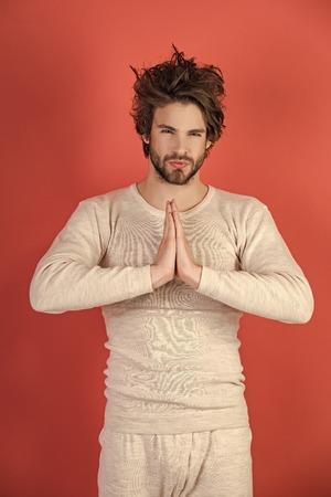 Meditation, Barber and hairdresser, male fashion. Mens heals body care. Фото со стока