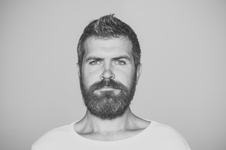 Man with serious emotion. Hipster with serious face. Reklamní fotografie