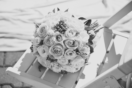 wedding bouquet of pink and white rose flower Stock Photo