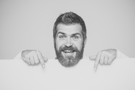Mens heals care. man with long beard on happy face with paper Stok Fotoğraf