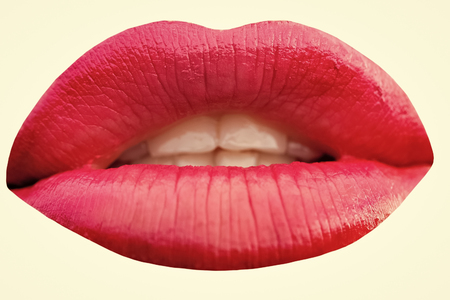 Sensual woman. Closeup photo of red lips
