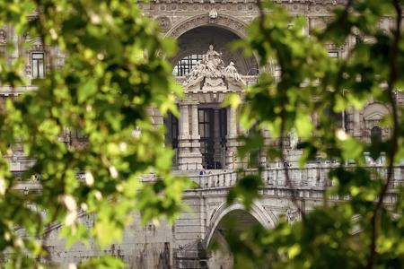 Corte di Cassazione through green leaves Banco de Imagens