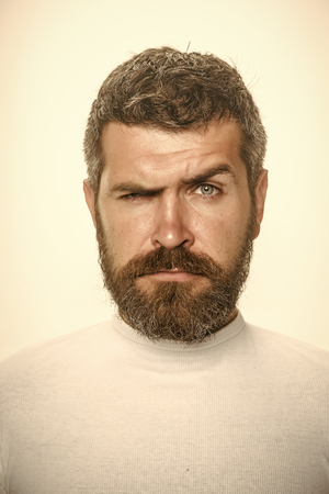 Serious man. Man with long beard and mustache. 版權商用圖片