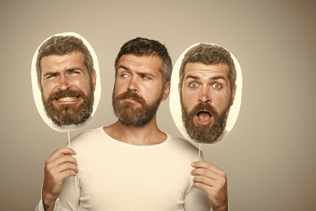 Serious man. Man with long beard and mustache. Banco de Imagens