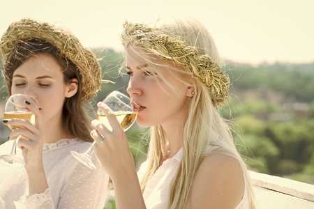 Girls with champagne glasses outdoors Banco de Imagens
