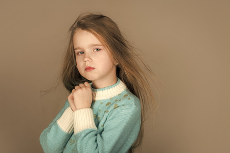 Face fashion little girl or kid in your web site. Little girl face portrait in your advertisnent. healthy hair of little girl. healthy hair of small girl kid.