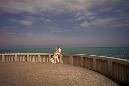 Couple in love. Wedding couple on terrace