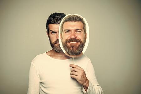 Fun faces. Man with long beard and mustache. Banco de Imagens