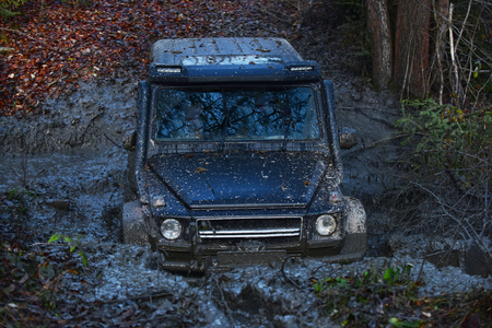 SUV or 4x4 off-road car in a puddle making mud splashes. Car stuck on forest road covered with dirt and fall leaves. Extreme entertainment and challenge concept.