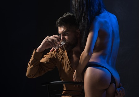Couple in love with sexy body, relax. couple in love of bearded man and sexy woman