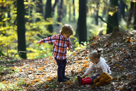 Small boy and girl friends have fun in woods. Kids harvest grass in autumn forest. Brother and sister play on fresh air. Childhood and child friendship. Children activity and active rest.