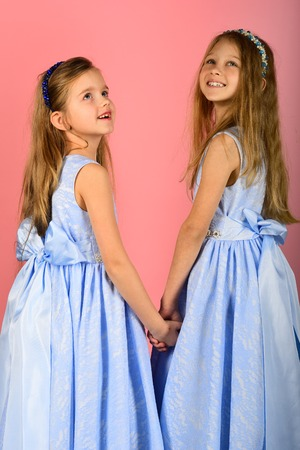 beautiful daughters playing at home in dress, everyone is happy 写真素材