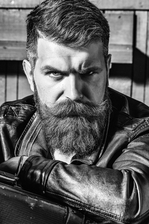 Boy Powered. Issues face boys. Frown bearded man hipster Stok Fotoğraf
