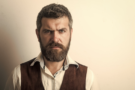 Men face skin care. Portrait Men face in your advertisnent. Mens heals body care. Hipster in shirt and waistcoat.