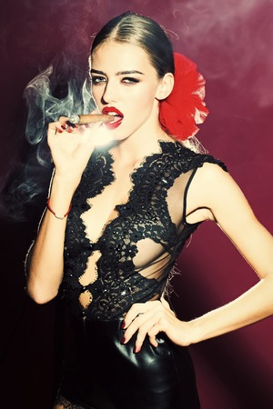 Women face skin care. Portrait women face in your advertisnent. Smoking woman