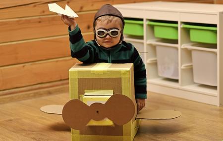 Child Childhood Children Happiness Concept. Dream, career, adventure, education.